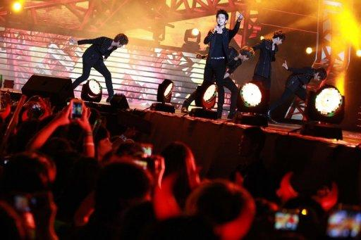 "Members of ""MBLAQ"", a K-pop band from South Korea, perform at the Music Bank K-pop festival concert in Hong Kong"
