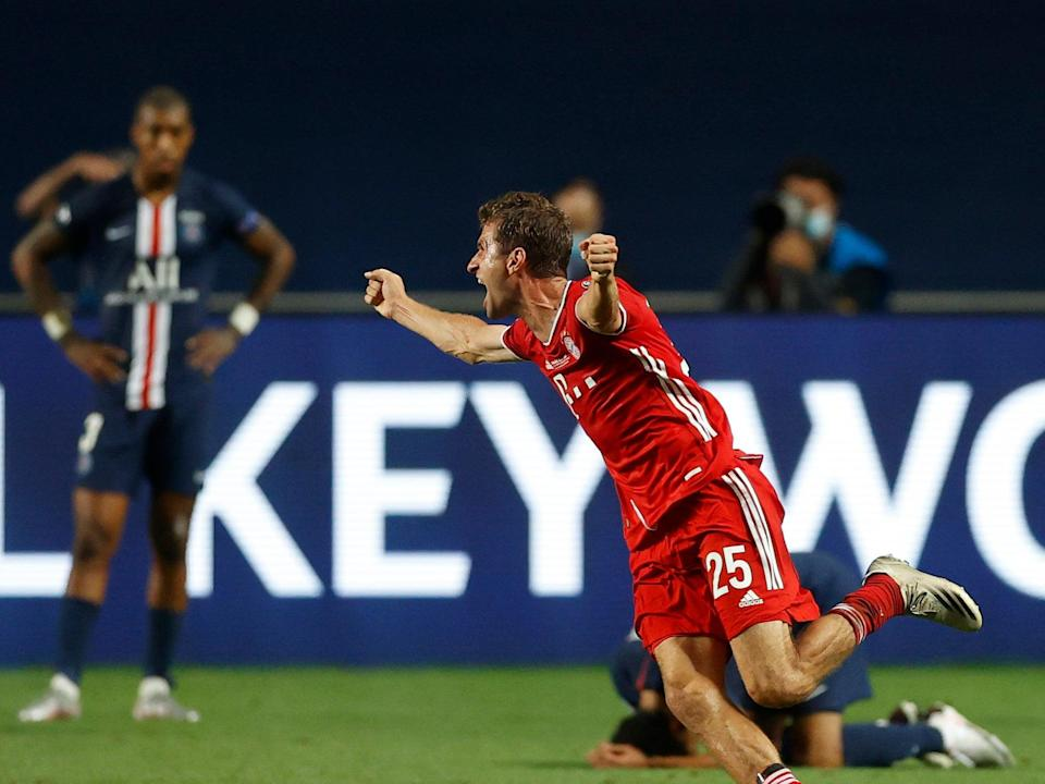 Thomas Muller celebrates last season's Champions League final victory over PSG (Getty Images)
