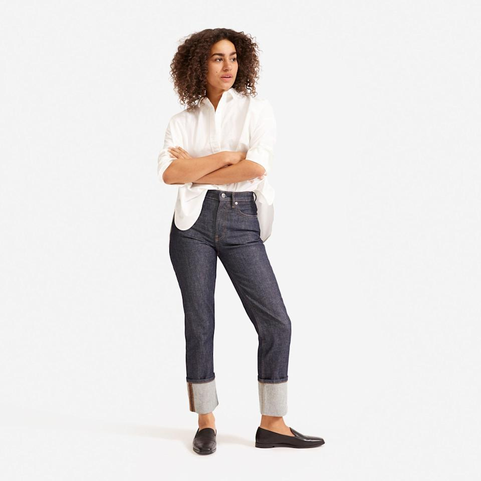 """<p><strong>everlane</strong></p><p>everlane.com</p><p><strong>$85.00</strong></p><p><a href=""""https://go.redirectingat.com?id=74968X1596630&url=https%3A%2F%2Fwww.everlane.com%2Fproducts%2Fwomens-super-straight-jean-cuffeddarkindigo&sref=https%3A%2F%2Fwww.elle.com%2Ffashion%2Fshopping%2Fg33078428%2Fbest-elle-editor-product-reviews%2F"""" rel=""""nofollow noopener"""" target=""""_blank"""" data-ylk=""""slk:Shop Now"""" class=""""link rapid-noclick-resp"""">Shop Now</a></p><p>""""Once again, Everlane answered my prayers with their <a href=""""https://www.elle.com/fashion/shopping/a30703328/everlane-super-straight-jean-denim-review/"""" rel=""""nofollow noopener"""" target=""""_blank"""" data-ylk=""""slk:Super-Straight Jeans"""" class=""""link rapid-noclick-resp"""">Super-Straight Jeans</a>, intended for skinny jean haters like me and you. The style is the love child of '70s vintage Levi's and '90s Winona Ryder. It's basically the perfect pair of jeans."""" — <em>Justine Carreon, market editor</em></p>"""