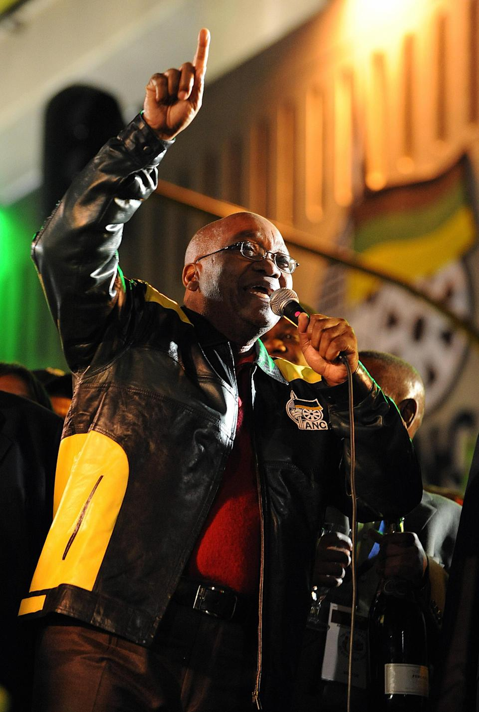 Former President of South Africa, Jacob Zuma, addresses a crowd in Johannesburg, April 23, 2009.