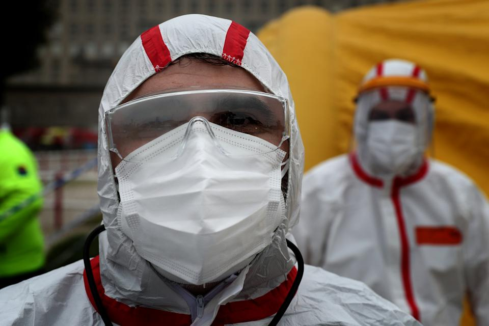 A health worker wearing a protective suit pose for a portrait in the new triage center for Covid-19 at Santa Maria Hospital, which opened today to help in the reception of patients in Lisbon, Portugal, on January 29, 2021. Portugal is reporting new daily records of COVID-19 deaths and hospitalizations as a recent pandemic surge continues unabated. (Photo by Pedro Fiúza/NurPhoto via Getty Images)