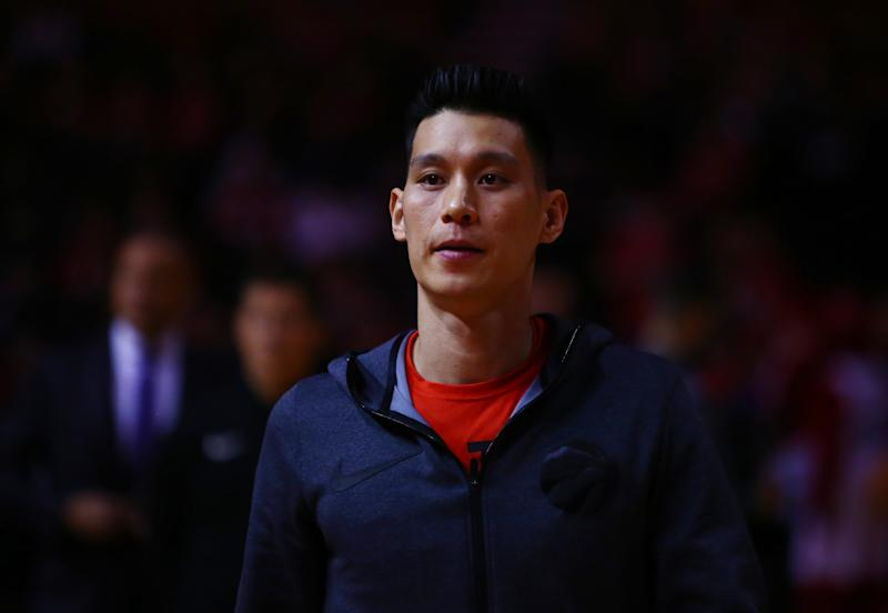 TORONTO, ON - APRIL 16: Jeremy Lin #17 of the Toronto Raptors looks on during warm up, prior to Game Two of the first round of the 2019 NBA Playoffs against the Orlando Magic at Scotiabank Arena on April 16, 2019 in Toronto, Canada. NOTE TO USER: User expressly acknowledges and agrees that, by downloading and or using this photograph, User is consenting to the terms and conditions of the Getty Images License Agreement. (Photo by Vaughn Ridley/Getty Images)