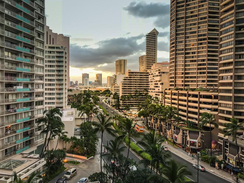 High rise buildings in Honolulu, Hawaii. Workers in this state need to earn $36.13 an hour to afford a modest two-bed rental property. (Michael Kulmar via Getty Images)