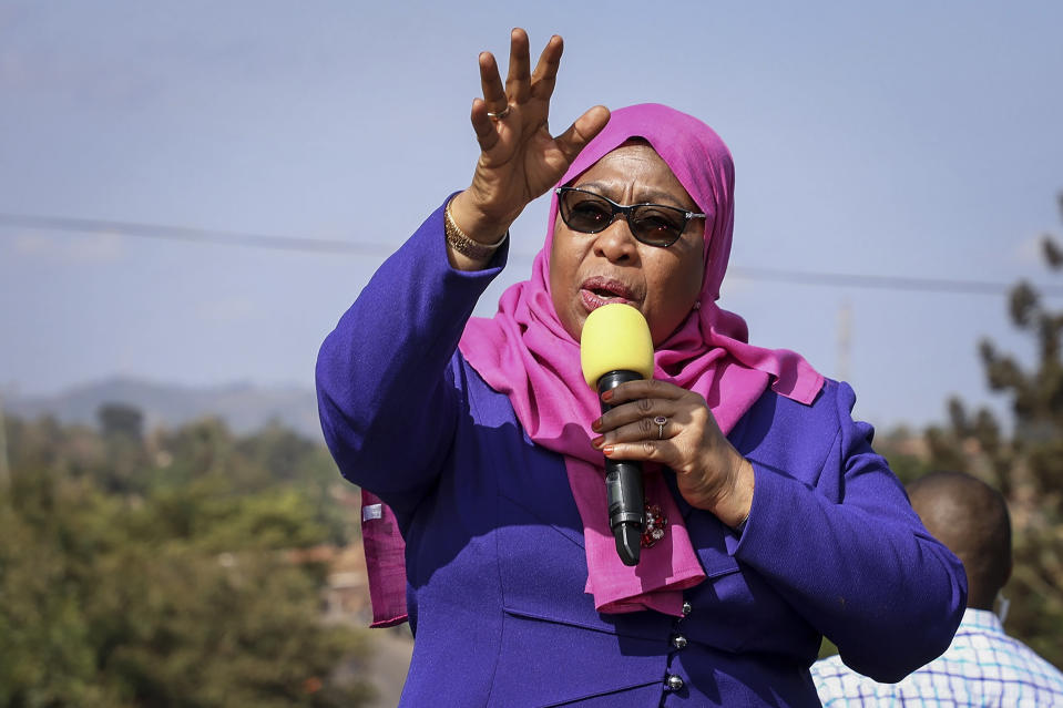 FILE - In this Tuesday, March 16, 2021, file photo, Tanzania's then Vice President Samia Suluhu Hassan speaks during a tour of the Tanga region of Tanzania. Samia Suluhu Hassan has been sworn in Friday, March 19, 2021, as Tanzania's president, making history as the country's first woman in the position following the death of her predecessor John Magufuli. (AP Photo, File)