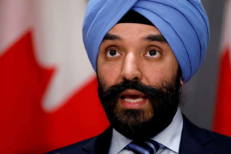 FILE PHOTO: Canada's Minister of Innovation, Science and Industry Navdeep Bains attends a news conference as efforts continue to help slow the spread of coronavirus disease (COVID-19) in Ottawa