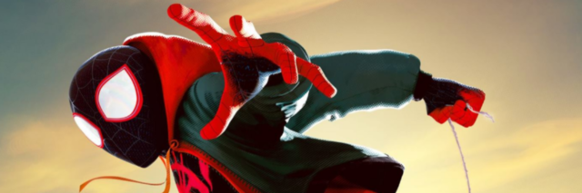 Spider-Man: Into the Spider-Verse poster with Spider-Man jumping in the air.