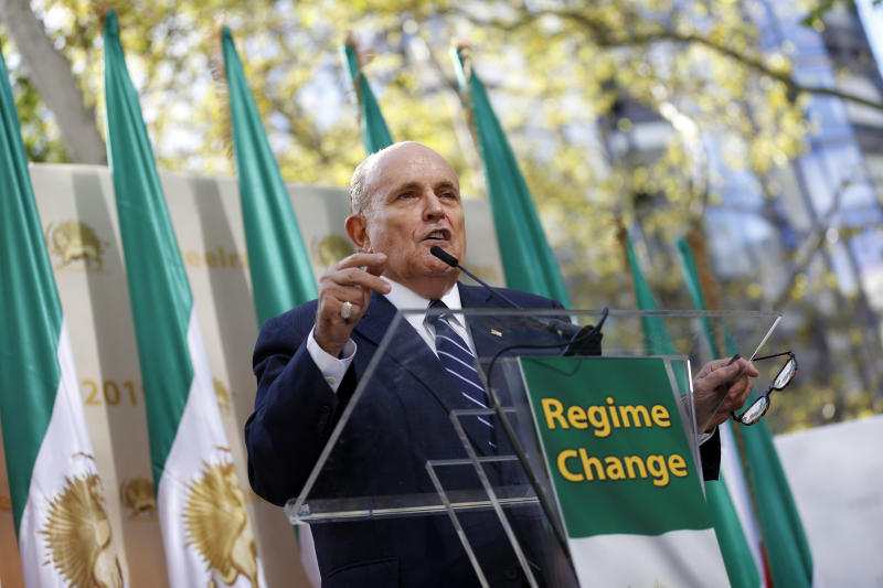 Former New York Mayor Rudy Giuliani speaks at a rally supporting a regime change in Iran outside United Nations headquarters on the first day of the general debate at the U.N. General Assembly, Tuesday, Sept. 24, 2019, in New York. (AP Photo/Jason DeCrow)