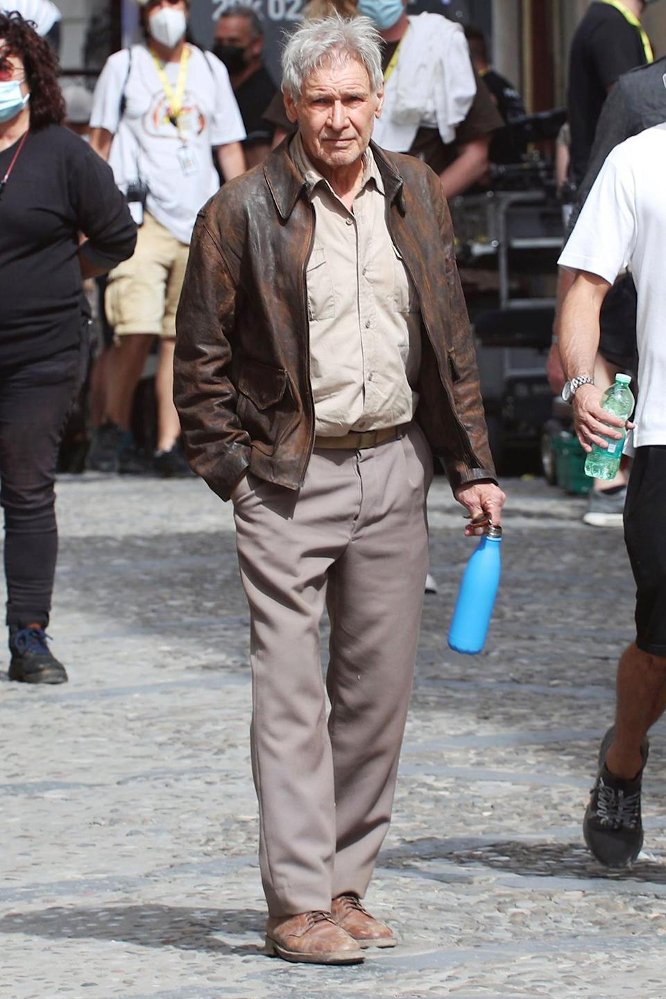 <p>Harrison Ford is spotted on the set of<i> Indiana Jones 5</i> on Oct. 7 in Cefalù, Italy. </p>
