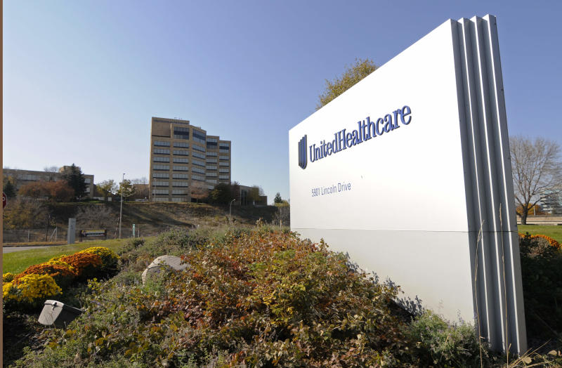 This Tuesday, Oct. 16, 2012, photo, shows a portion of The UnitedHealth Group Inc.'s  campus in Minnetonka, Minn. UnitedHealth Group Inc. reports quarterly financial results before the market opens on Thursday, April 18, 2013. (AP Photo/Jim Mone)