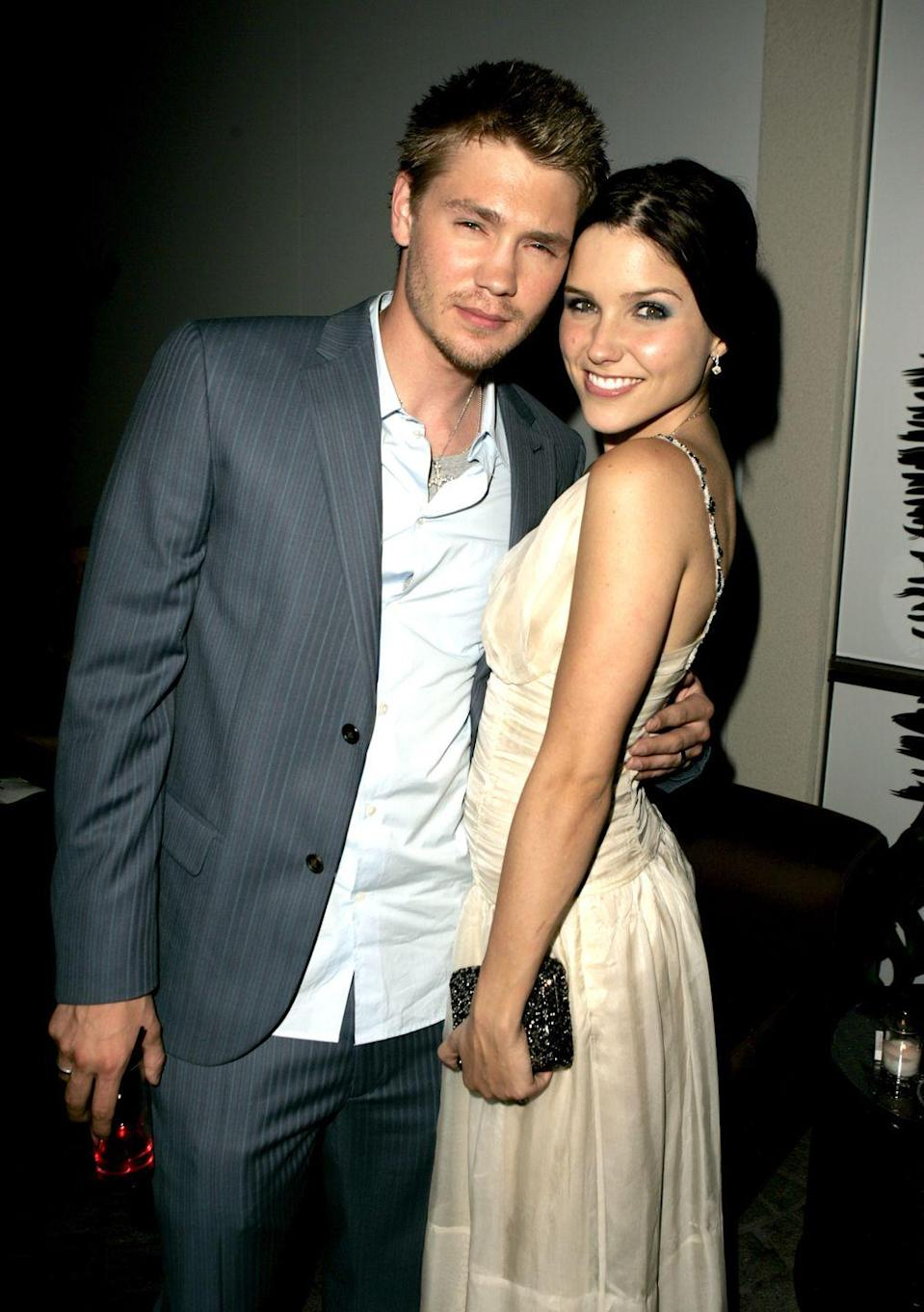 """<p>Much like their <em>One Tree Hill </em>characters Brooke Davis and Lucas Scott, Sophia Bush and Chad Michael Murray were not destined for each other. The former co-stars wed in <a href=""""http://www.usmagazine.com/celebrity-news/news/sophia-bush-says-she-and-ex-husband-chad-michael-murray-had-no-business-being-together-201471"""" rel=""""nofollow noopener"""" target=""""_blank"""" data-ylk=""""slk:2005"""" class=""""link rapid-noclick-resp"""">2005</a> only to separate a short five months later. After the split, the former couple continued to work together on the show until the series finale in 2012. </p>"""