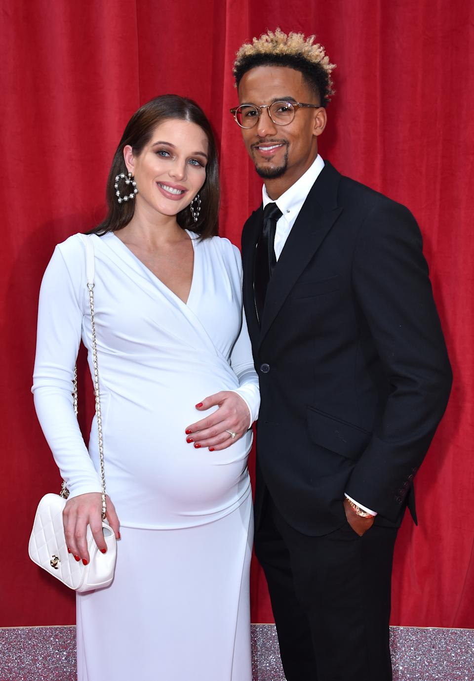 Helen Flanagan and Scott Sinclair attending the British Soap Awards 2018 held at The Hackney Empire, London. PRESS ASSOCIATION Photo. Picture date: Saturday June 2, 2018. See PA story SHOWBIZ Soap Awards. Photo credit should read: Matt Crossick/PA Wire (Photo by Matt Crossick/PA Images via Getty Images)