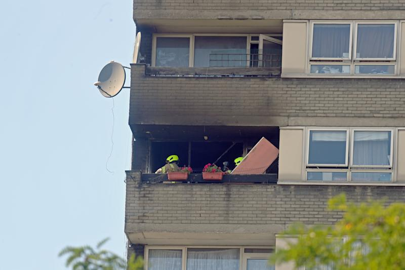 Firefighters at Markland House after a fire broke out at the block of flats a short walk away from Grenfell Tower in West London. (Photo by Victoria Jones/PA Images via Getty Images)
