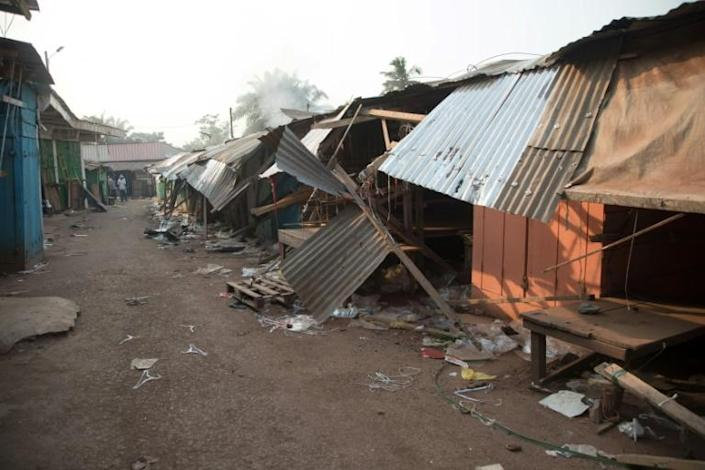 Shops in a street of the PK5 district in Bangui were ransacked after the clashes that left at least 30 people dead (AFP Photo/FLORENT VERGNES)