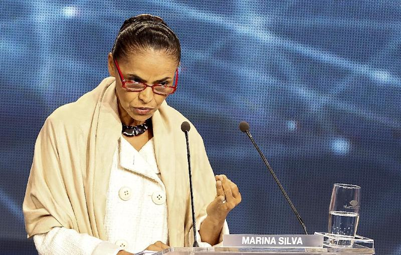 Presidential candidate for the Brazilian Socialist Party Marina Silva participates in a television debate in Sao Paulo, Brazil on August 26, 2014 (AFP Photo/Miguel Schincariol)