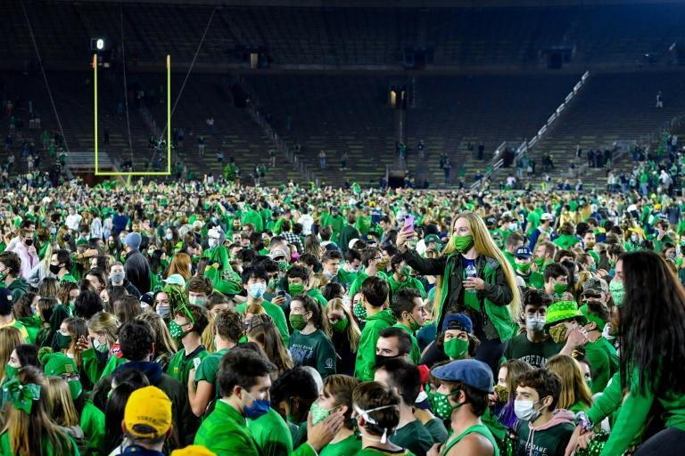 Notre Dame fans celebrate the team's victory the Clemson Tigers last weekend
