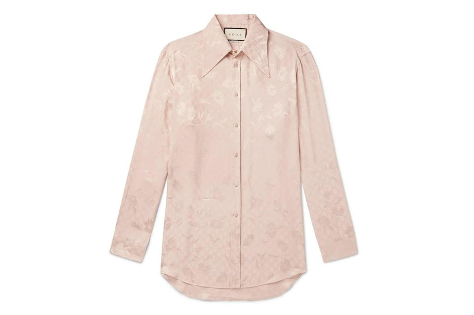 """Silken, sultry, see-through, skin-tight, short, louche—whatever it is, you need a shirt on hand that makes you feel *hot*.<br> <br> <em>Gucci floral-jacquard shirt</em> $1200, Mr Porter. <a href=""""https://www.mrporter.com/en-us/mens/product/gucci/clothing/printed-shirts/floral-jacquard-shirt/9679066509162258"""" rel=""""nofollow noopener"""" target=""""_blank"""" data-ylk=""""slk:Get it now!"""" class=""""link rapid-noclick-resp"""">Get it now!</a>"""