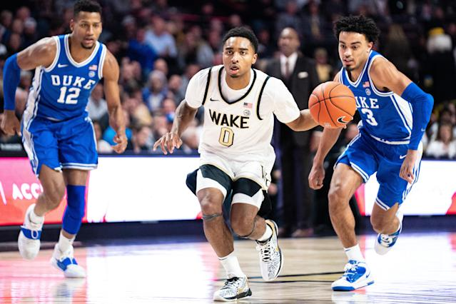 Duke lost to Wake Forest by blowing a late lead because college basketball is wild this year. (Photo by Jacob Kupferman/Getty Images)