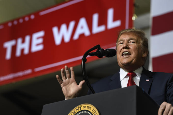 President Trump speaks during a rally in El Paso, Texas, in February. (Photo: Susan Walsh/AP)