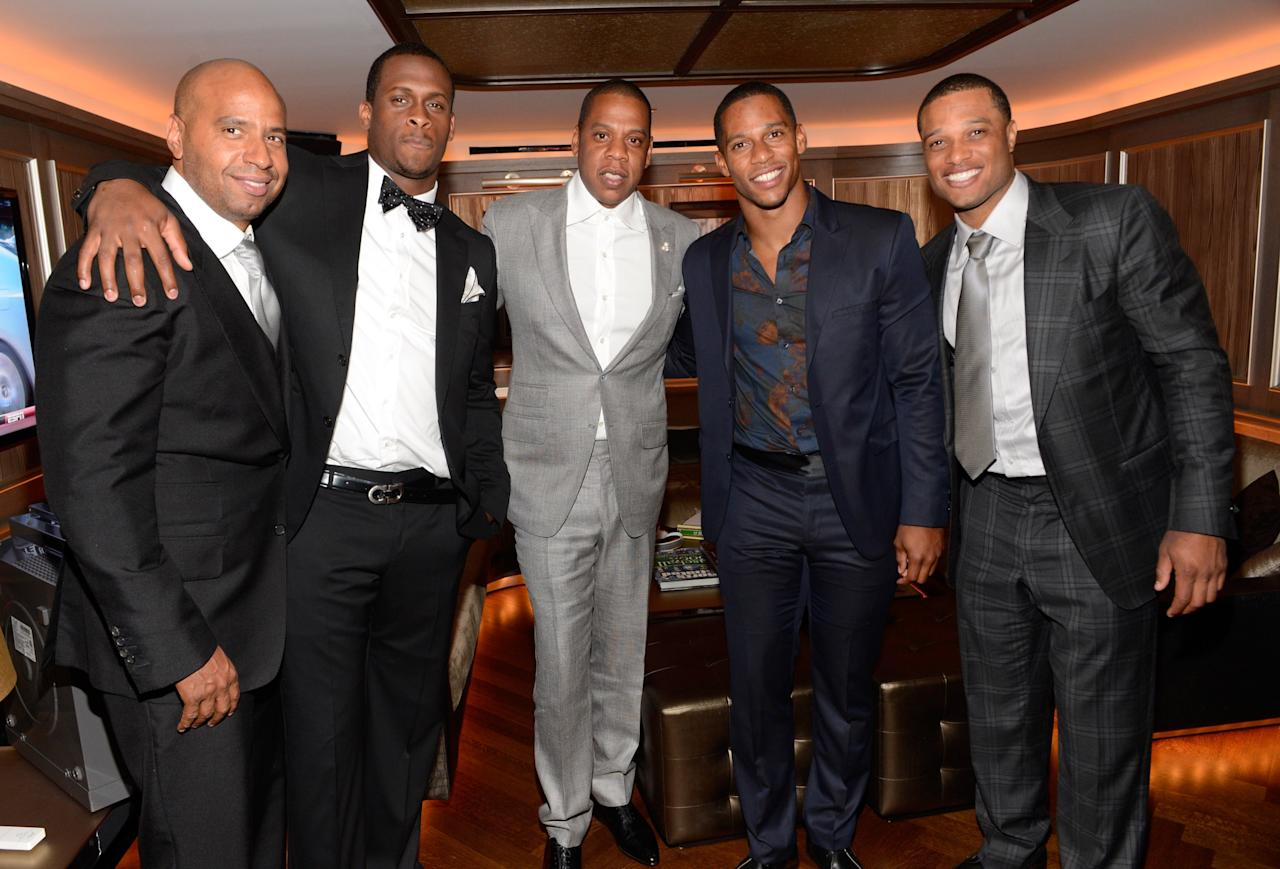 NEW YORK, NY - JUNE 17:  (Exclusive Coverage) Juan 'OG' Perez, Geno Smith, Jay-Z, Victor Cruz and Robinson Cano attend The 40/40 Club 10 Year Anniversary Party at 40 / 40 Club on June 17, 2013 in New York City.  (Photo by Kevin Mazur/Getty Images)