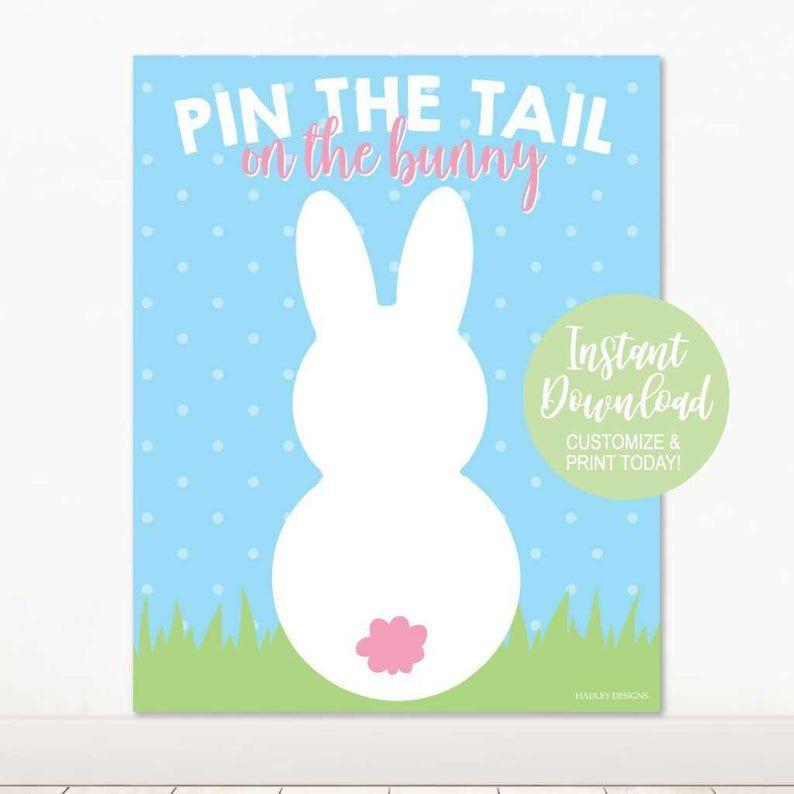 """<p><strong>ShopHadleyDesigns</strong></p><p>etsy.com</p><p><strong>$4.99</strong></p><p><a href=""""https://go.redirectingat.com?id=74968X1596630&url=https%3A%2F%2Fwww.etsy.com%2Flisting%2F774917319%2Fprintable-bunny-pictures-pin-the-tuft-on&sref=https%3A%2F%2Fwww.womansday.com%2Flife%2Fentertainment%2Fg2189%2Feaster-games%2F"""" rel=""""nofollow noopener"""" target=""""_blank"""" data-ylk=""""slk:Shop Now"""" class=""""link rapid-noclick-resp"""">Shop Now</a></p><p>Another print-and-play find, this game puts a festive spin on a birthday party classic. </p>"""