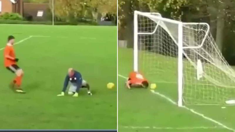 The keeper had a shocker, the striker rubbed his nose in it. Pic: FC Hitchin/Twitter