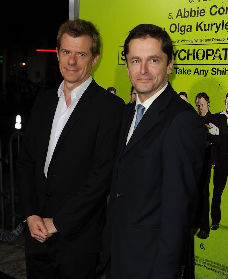 """WESTWOOD, CA - OCTOBER 01:  (L-R) Producers Graham Broadbent and Peter Czernin arrive at the premiere of CBS Films' """"Seven Psychopaths"""" at Mann Bruin Theatre on October 1, 2012 in Westwood, California.  (Photo by Kevin Winter/Getty Images)"""