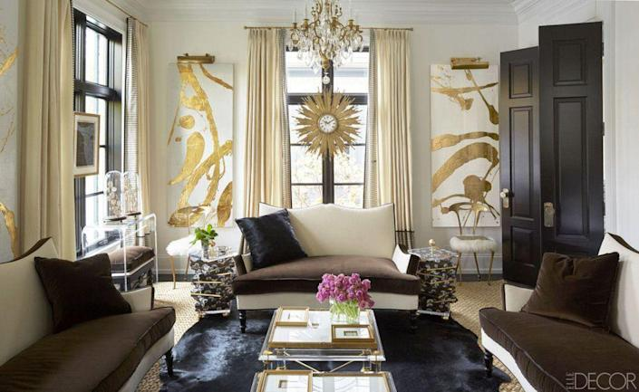 <p>Incorporating shimmery gold or silver accessories is an easy way to transform a dark and dreary space. The simple addition of a metallic mirror, light fixture, piece of artwork, or even a decorative object has a way of reflecting light and making a design scheme feel more luxurious.</p>