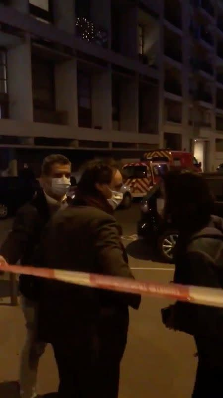 Mayor of Lyon Gregory Doucet arrives at the scene where an Orthodox priest was shot and injured as the assailant fled, as police source claims, in Lyon