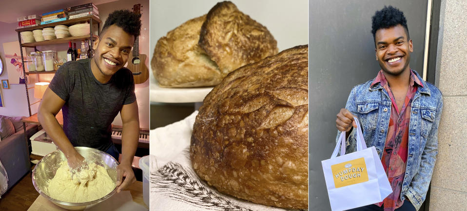 """This combination of photos shows Broadway performer Max Kumangai making sourdough bread from his apartment in New York. The triple threat from the musical """"Jagged Little Pill"""" has leaned into a fourth skill as the pandemic marches on: baking and selling his own sourdough. (Michael Lowney/Humpday Dough via AP)"""