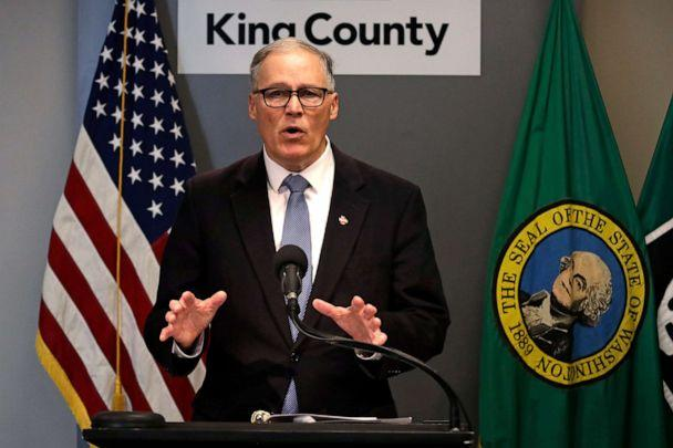 PHOTO: In this March 16, 2020, photo Washington Gov. Jay Inslee speaks about the coronavirus outbreak in Seattle. (Elaine Thompson/AP, File)