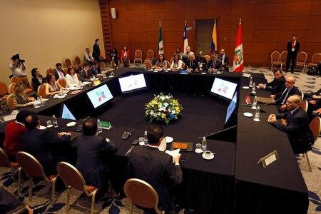"A view of the meeting room during ""Alianza del Pacifico"" (Pacific Alliance) summit in Vina del Mar,"
