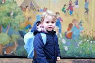 <p>Prince George poses on his first day of nursery school in this sweet shot taken by the Duchess of Cambridge. </p>