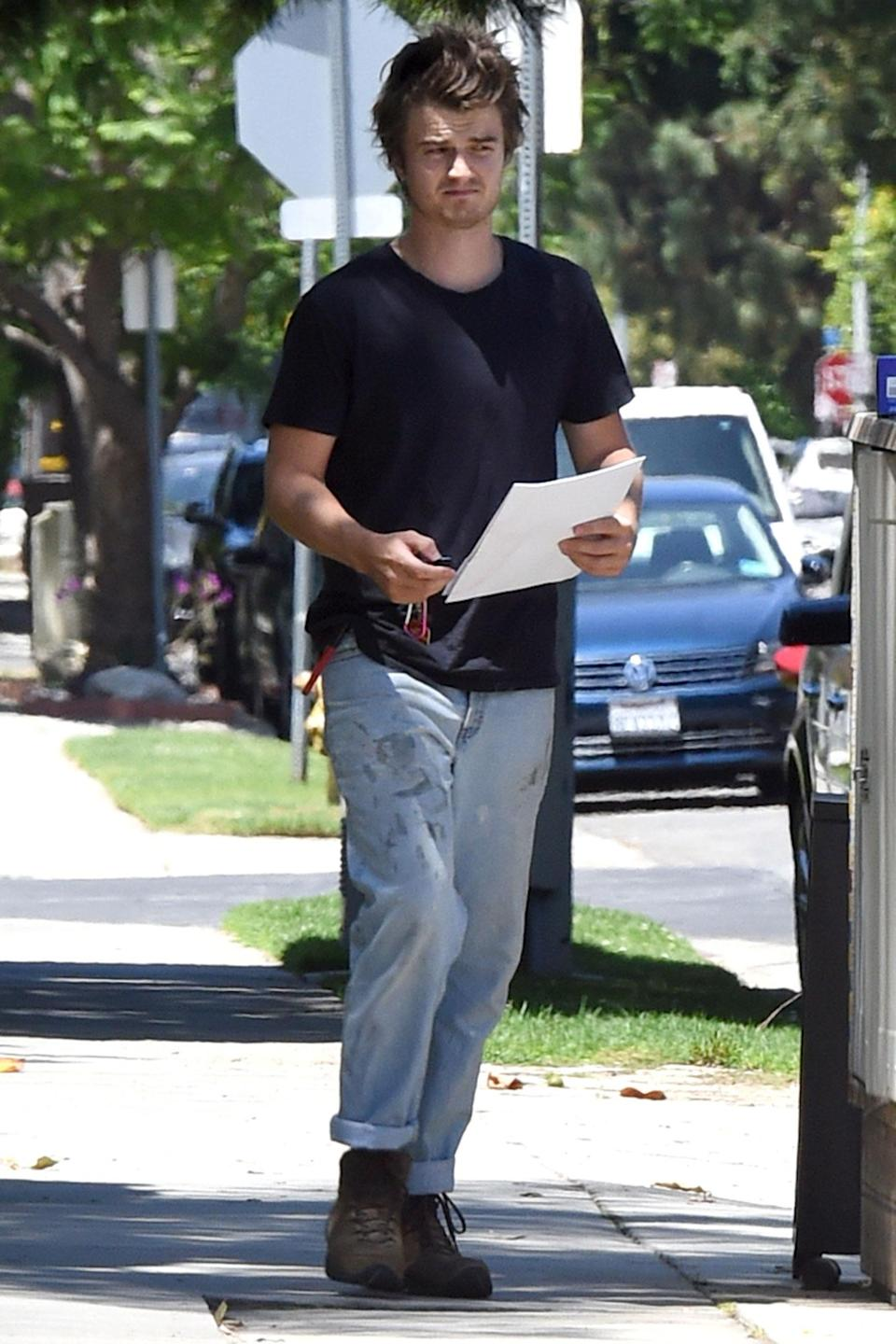 <p>Joe Keery stepped out with some paperwork in hand in Los Angeles as he dressed in a casual outfit.</p>
