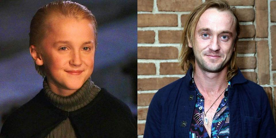 """<p><strong>First Film: </strong><em>Harry Potter and the Sorcerer's Stone</em></p><p><strong>Character Played: </strong>Draco Malfoy</p><p><strong>Age: </strong>32</p><p>These days, Felton keeps his nearly 6 million Instagram followers entertained with snaps of his dog Willow and the <a href=""""https://www.instagram.com/p/B6OJL8bAU6X/"""" rel=""""nofollow noopener"""" target=""""_blank"""" data-ylk=""""slk:occasional reunion with fellow Potter castmates"""" class=""""link rapid-noclick-resp"""">occasional reunion with fellow Potter castmates</a> like Emma Watson, Matthew Lewis, and Bonnie Wright. He's also starring in independent dramedy <em><a href=""""https://www.imdb.com/title/tt2305326/"""" rel=""""nofollow noopener"""" target=""""_blank"""" data-ylk=""""slk:Braking for Whales"""" class=""""link rapid-noclick-resp"""">Braking for Whales</a> </em>later this year.<strong><br></strong></p>"""