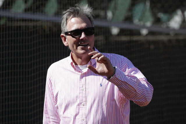 Oakland Athletics Executive Vice President of Baseball Operations Billy Beane watches baseball practice in Oakland, Calif., Tuesday, Oct. 1, 2019. The Athletics are scheduled to face the Tampa Bay Rays in an American League wild-card game Wednesday, Oct. 2. (AP Photo/Jeff Chiu)