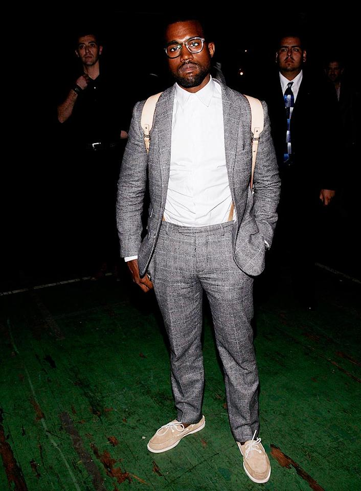 """Although Kanye West is considered one of the most fashion-forward celebs today, for a minute we thought this was Urkel. Joe Kohen/<a href=""""http://www.wireimage.com"""" target=""""new"""">WireImage.com</a> - September 8, 2008"""