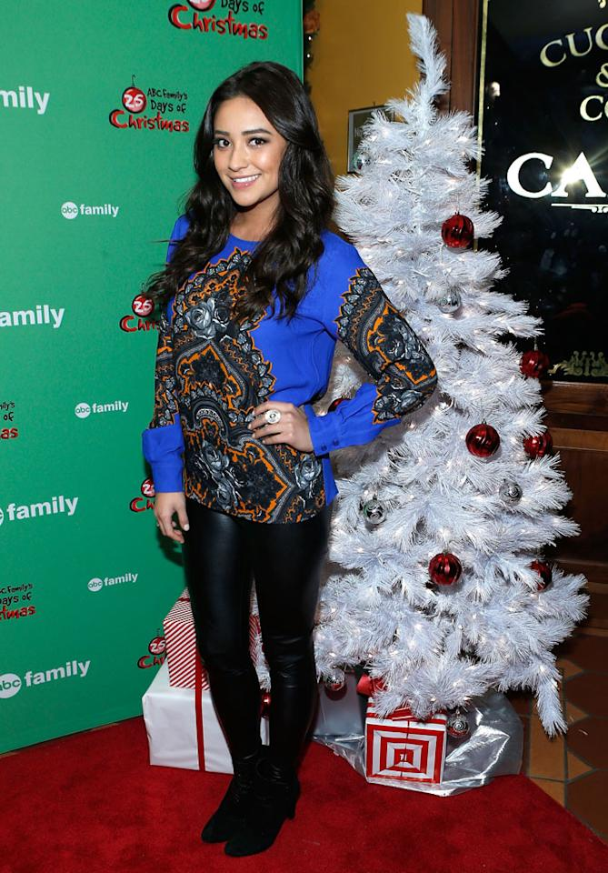 "Shay Mitchell attends ABC Family's ""25 Days Of Christmas"" Winter Wonderland Event at Rockefeller Center on December 2, 2012 in New York City."