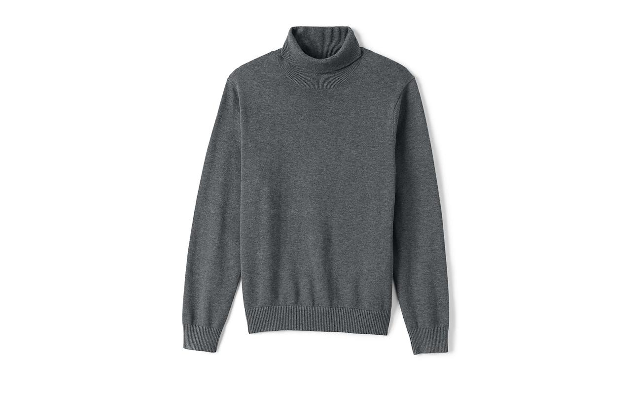 """$55, Lands' End. <a href=""""https://www.landsend.com/products/mens-supima-cotton-turtleneck-sweater/id_288611?attributes=44967,2448,43322,43307,44255,44046,43382,44072"""">Get it now!</a>"""