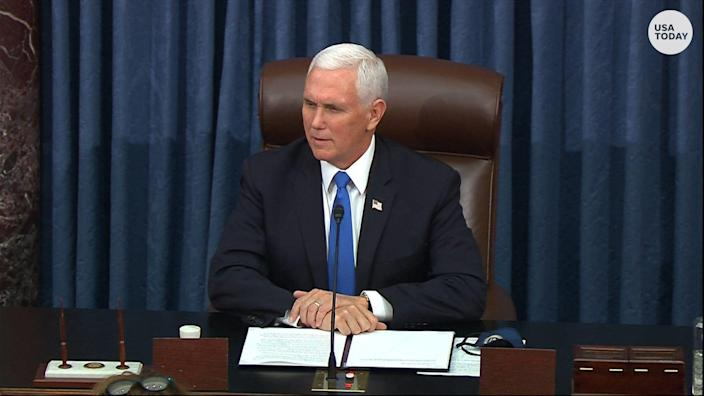 """Vice President Mike Pence said """"today was a dark day in the history of the United States Capitol"""" as the Senate restarted the Electoral College count."""