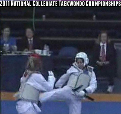 Shannon fighting in the 2011 National Collegiate Taekwondo Championships