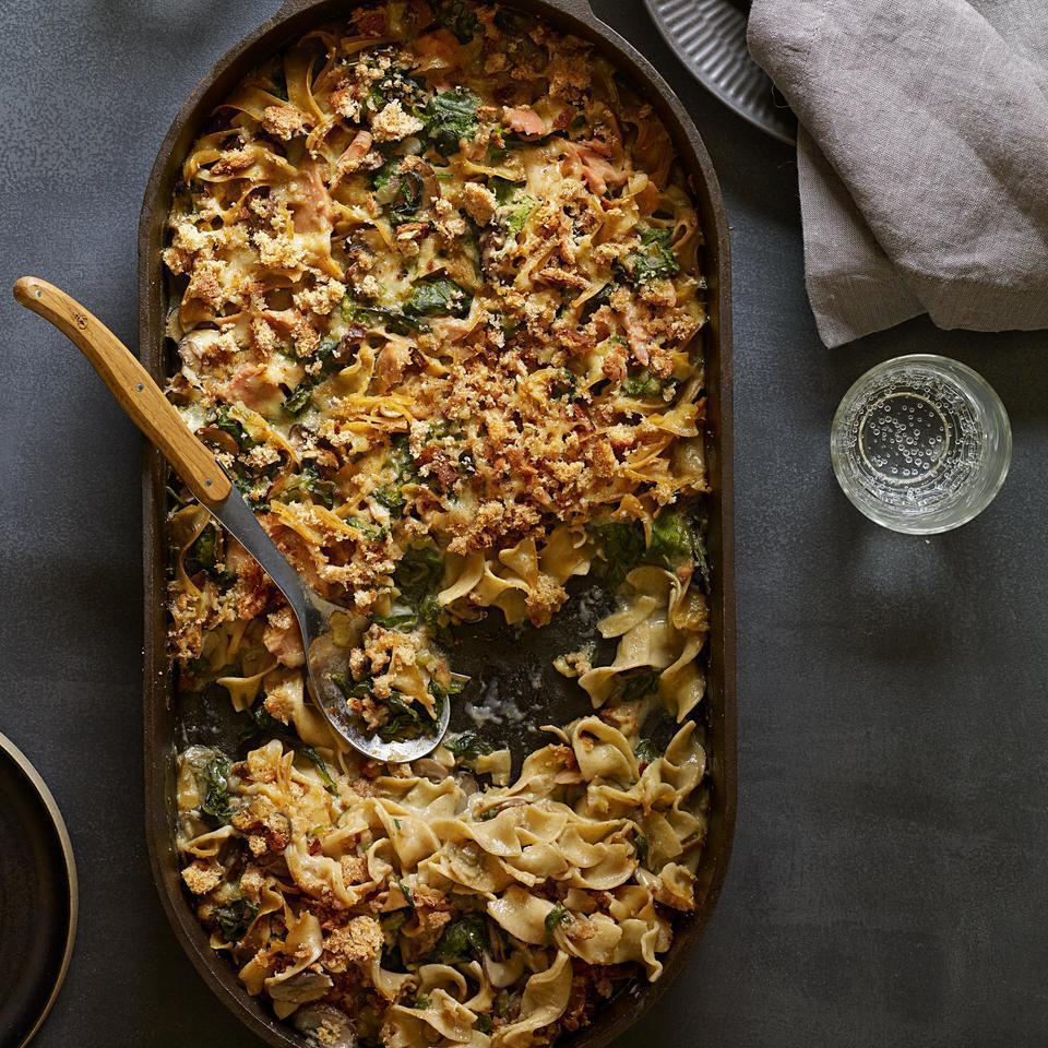 <p>Homemade mushroom sauce kicks the can of soup out of the picture in this veggie-centric, healthy riff on a classic tuna-noodle casserole recipe. Serve with steamed green beans.</p>