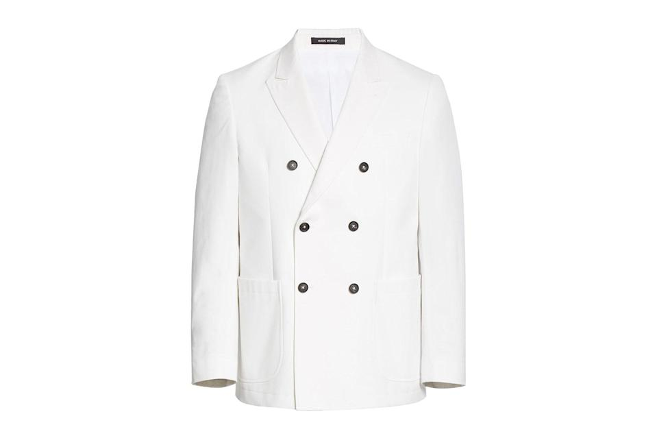 "$568, Nordstrom. <a href=""https://www.nordstrom.com/s/noah-double-breasted-white-cotton-sport-coat-nordstrom-exclusive/5593390?origin=keywordsearch-personalizedsort&breadcrumb=Home&color=none"" rel=""nofollow noopener"" target=""_blank"" data-ylk=""slk:Get it now!"" class=""link rapid-noclick-resp"">Get it now!</a>"