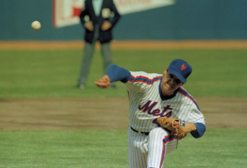 New York Mets pitcher Tom Seaver is shown in action against the Philadelphia Phillies at Shea Stadium in Queens, April 5, 1983, New York. It was the season opener. The Mets won 2-0. (AP Photo/Richard Drew)