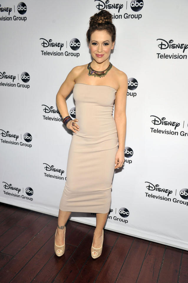 "Alyssa Milano (""Mistresses"") attends the Disney ABC Television Group 2013 TCA Winter Press Tour at The Langham Huntington Hotel and Spa on January 10, 2013 in Pasadena, California."
