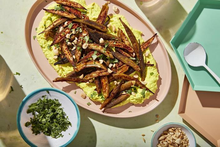 Okra roasts up crisp and sweet to counterbalance a base of aromatic spiced labneh.
