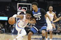 Oklahoma City Thunder's Shai Gilgeous-Alexander, left, of Canada, drives on Minnesota Timberwolves' Jarrett Culver in the second half of an NBA basketball game Monday, Jan. 13, 2020, in Minneapolis. The Thunder won 117-104. (AP Photo/Jim Mone)