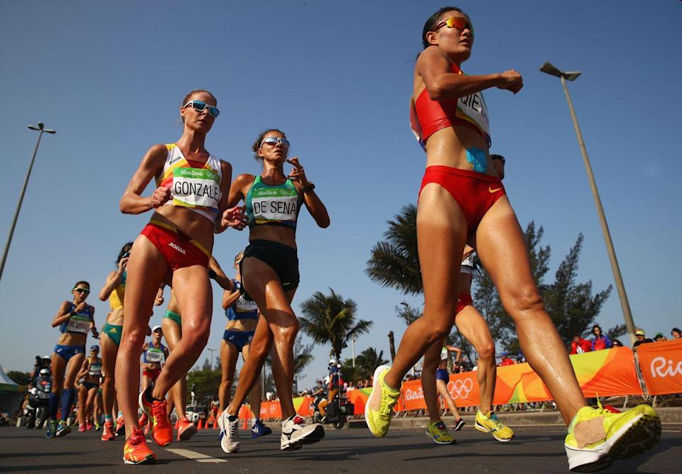"""<p>What, you didn't know race walking was an Olympic sport? What sets it apart from running is the fact that the athlete must <a href=""""https://www.usatf.org/disciplines/race-walking"""" rel=""""nofollow noopener"""" target=""""_blank"""" data-ylk=""""slk:always maintain contact"""" class=""""link rapid-noclick-resp"""">always maintain contact</a> with the ground. Olympic judges note the technique of an athlete to determine fouls and disqualification. </p>"""