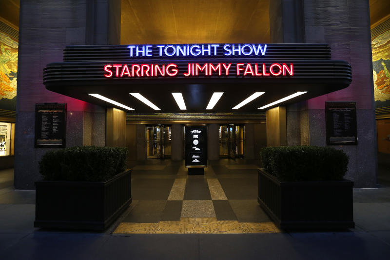 "NEW YORK CITY - MARCH 17: Exterior view of the Rockefeller Center complex and the entrance to ""The Tonight Show starring Jimmy Fallon"" is seen during the coronavirus on March 17, 2020 in New York City. The tourism and entertainment industry have been hit hard by the restrictions in response to the outbreak of COVID-19. (Photo by John Lamparski/Getty Images)"