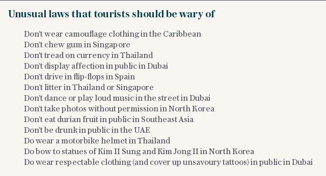Unusual laws that tourists should be wary of