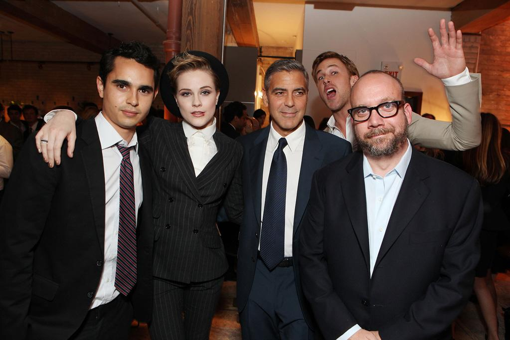 """<a href=""""http://movies.yahoo.com/movie/contributor/1808617316"""">Max Minghella</a>, <a href=""""http://movies.yahoo.com/movie/contributor/1800021285"""">Evan Rachel Wood</a>, <a href=""""http://movies.yahoo.com/movie/contributor/1800019715"""">George Clooney</a>, <a href=""""http://movies.yahoo.com/movie/contributor/1804035474"""">Ryan Gosling</a> and <a href=""""http://movies.yahoo.com/movie/contributor/1800021779"""">Philip Seymour Hoffman</a> at the 2011 Toronto Film Festival premiere of """"The Ides of March"""" on September 9, 2011."""